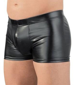 Мужские трусы-шорты из wet-look материала с эрекционным кольцом