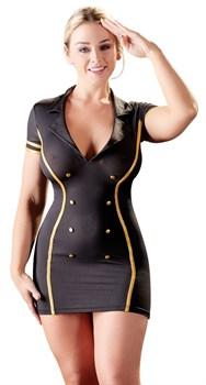 Черно-золотое платье стюардессы