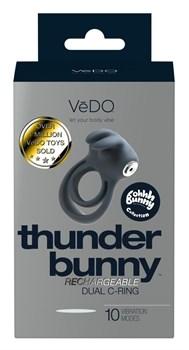 Черное эрекционное кольцо VeDO Thunder Bunny