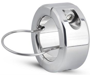 Серебристый утяжелитель для мошонки и пениса Sinner Metal Cock And Ball Lock Medium