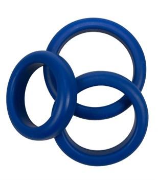 Набор из 3 синих эрекционных колец Blue Mate