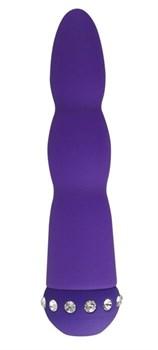 Фиолетовый вибратор WAVY WAND со стразами - 14 см.
