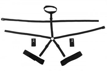Черная портупея с кольцом и фиксацией рук и ног