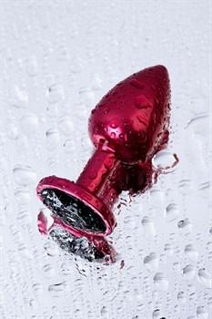 Красная анальная пробка с кристаллом черного цвета - 7,2 см.