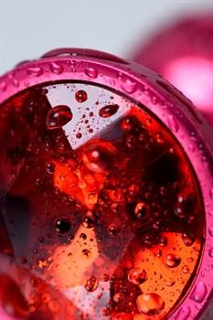 Красная анальная пробка с кристаллом красного цвета - 7,2 см.