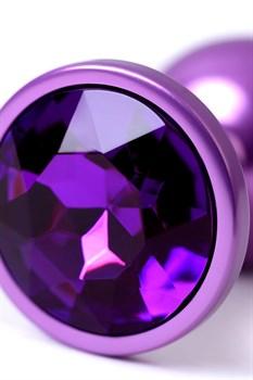 Фиолетовый анальный плаг с кристаллом фиолетового цвета - 7,2 см.