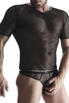 Мужская футболка из эластичной сетки с  V-образной горловиной