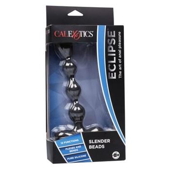 Черный анальный вибростимулятор Eclipse Slender Beads - 17,75 см.