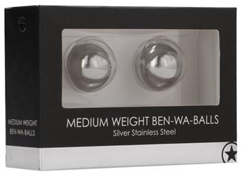 Серебристые вагинальные шарики Medium Weight Ben-Wa Balls