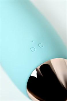 Голубой вибратор с клиторальным стимулятором CRYSTAL - 18,3 см.