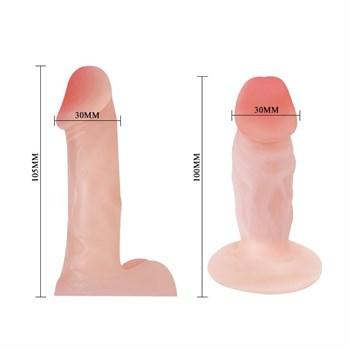 Женский страпон с двумя сменными насадками - 10,5 и 10 см.