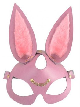Розовая кожаная маска  Зайка  с длинными ушками