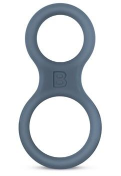 Темно-серое двойное эрекционное кольцо из силикона