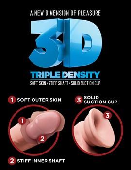 Телесный фаллоимитатор на присоске 12  Triple Density Cock with Balls - 33 см.