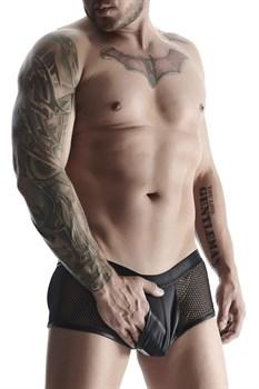 Мужские трусы-шорты со вставками из сетки и карманом