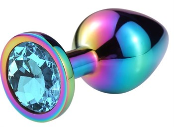 Разноцветная гладкая анальная пробка с голубым кристаллом - 7,5 см.