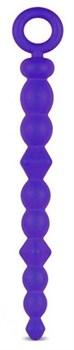 Синяя силиконовая анальная цепочка SILICONE BEADS INDIGO - 24,6 см.