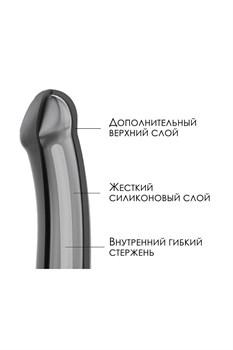 Черный фаллос на присоске Silicone Bendable Dildo XL - 20 см.