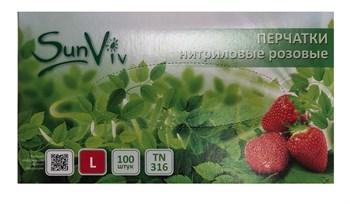 Розовые одноразовые нитриловые перчатки SunViv размера L - 100 шт.(50 пар)