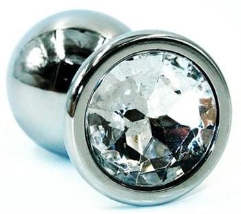 Серебристая коническая анальная втулка с прозрачным кристаллом - 8 см.