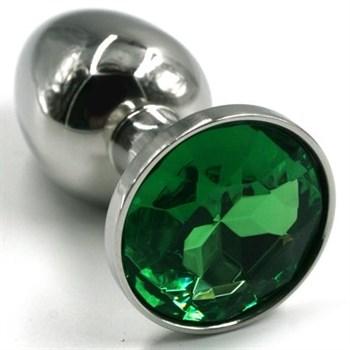 Серебристая коническая анальная пробка с зеленым кристаллом - 7 см.