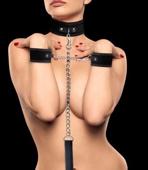 Черный ошейник с наручниками Velcro Collar With Separate Cuffs