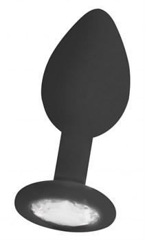 Черная анальная пробка с прозрачным кристаллом Diamond Butt Plug - 8 см.