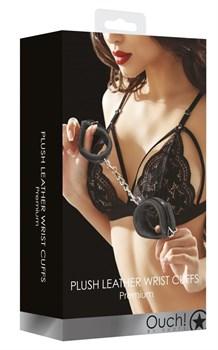 Черные наручники Plush Leather Hand Cuffs