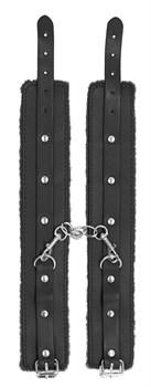 Черные поножи Plush Leather Ankle Cuffs
