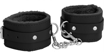 Черные поножи Plush Leather Ankle Cuffs