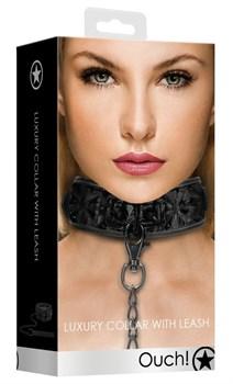 Черный широкий ошейник с поводком Luxury Collar with Leash