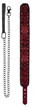 Красно-черный широкий ошейник с поводком Luxury Collar with Leash