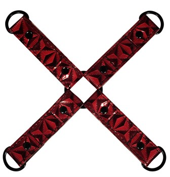 Красно-черные наручники и наножники Luxury Hogtie