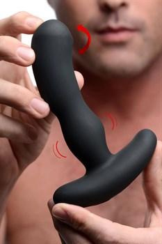Черный массажер простаты Pro-Digger 7X Silicone Stimulating Beaded P-Spot Vibe