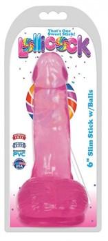 Розовый гелевый фаллоимитатор Slim Stick with Balls - 15,2 см.