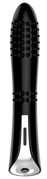Черный вибромассажер MAGIC NUBBED THRUSTER - 12,5 см.