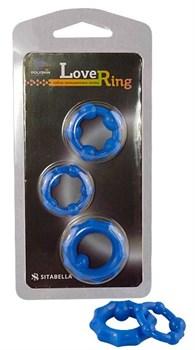 Набор из 3 синих рельефных эрекционных колец