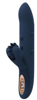 Синий вибромассажер-кролик ATHENA - 23 см.