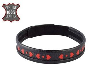 Черный ошейник-чокер с красными сердечками
