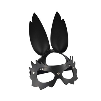 Черная кожаная маска  Зайка  с длинными ушками
