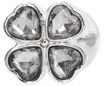 Серебристая анальная пробка с прозрачными кристаллами в форме клевера - 7 см.