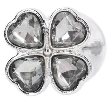 Серебристая анальная пробка с прозрачными кристаллами в форме клевера - 9,5 см.