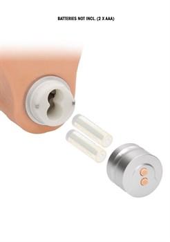 Телесный вибратор Vibrating Dildo With Balls - 23 см.