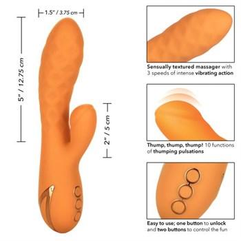 Оранжевый вибромассажер-кролик Newport Beach Babe с пульсирующим воздействием - 21,5 см.