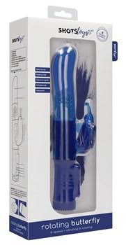Синий вибратор-кролик Rotating Butterfly - 22,8 см.