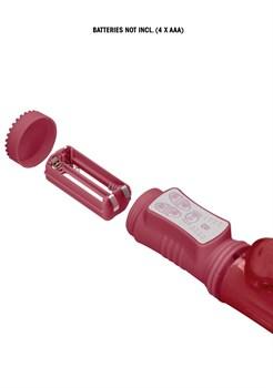 Красный вибратор-кролик Rotating Dolphin - 23 см.