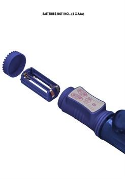 Синий вибратор-кролик Rotating Beetle - 22 см.