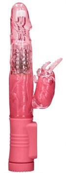 Розовый вибратор-кролик Rotating Beetle - 22 см.