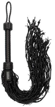 Черная многохвостая плетеная плеть Leather Barbed Wire Flogger - 77 см.