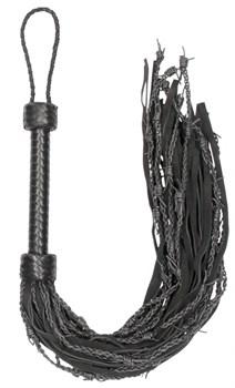 Черная многохвостая плетеная плеть Leather Suede Barbed Wired Flogger - 76 см.